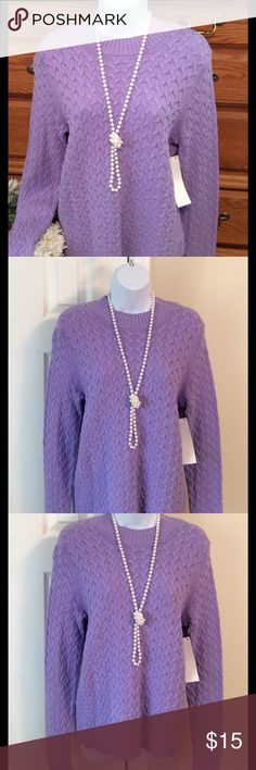 """Studio Works Lavender Sweater 100% cotton and brand new.  Color I can best describe as a Lavender - lilac.  Actual color is a combination of  the first and last picture. The other pictures are a little darker.  Approximately 24"""" in length and when laid flat and measured from armpit to armpit it is 18"""" across.   Size is Petite XL. Studio Works Sweaters Crew & Scoop Necks"""