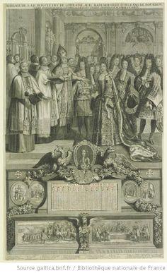 The wedding of the Duc de Lorraine and Mademoiselle d'Orléans de Bourbon on the 13th October 1698 at Fontainebleau. Photo: Bibliothèque Nationale de France.