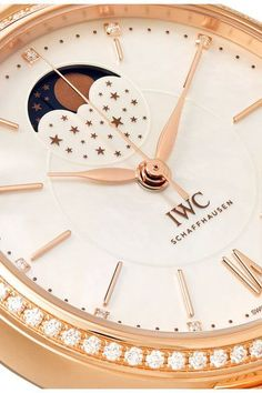 IWC SCHAFFHAUSEN - Portofino Automatic Moon Phase 37 18-karat Red Gold, Mother-of-pearl And Diamond Watch - Rose gold - one size