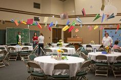 Back to school party decor. Love the paper airplane garland