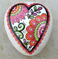 Hand Painted Abstract Heart Flower Orange and Pink Art River Rock Stone via Etsy