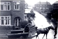 Horse drawn fire engine, Middlesbrough Horse drawn fire engine taken from a bedroom window in Westminster Road in the early 1950s.