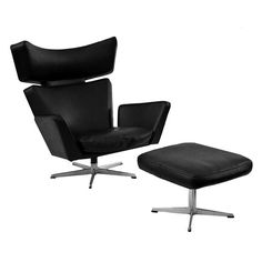 Ox Chair and Ottoman by Arne Jacobsen for Fritz Hansen | See more antique and modern Lounge Chairs at https://www.1stdibs.com/furniture/seating/lounge-chairs
