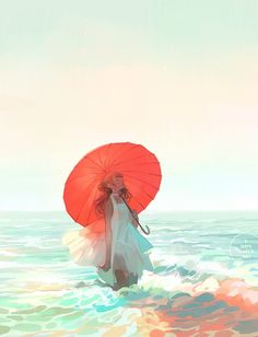3 days march: a portfolio of illustration and more by Loika (Yan Qin Weng). Kunst Inspo, Art Inspo, Art And Illustration, Anime Kunst, Anime Art, Dibujos Cute, Water Art, Pretty Art, Art Plastique