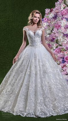 amelia sposa 2018 bridal cap sleeves off shoulder sweetheart neckline full embellishment princess ball gown wedding dress open v back chapel train (lorena) mv -- Amelia Sposa 2018 Wedding Dresses