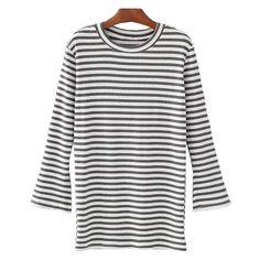 'Portia' Striped Crewneck Jersey Ribbed Top