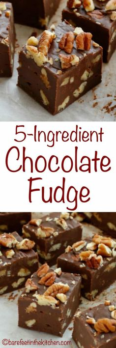 5 Minute 5 Ingredient Chocolate Pecan Fudge is a creamy chocolate fudge generously filled with pecans. This Chocolate Pecan Fudge comes together in just a few minutes and it is perfect for gifting,… Candy Recipes, Sweet Recipes, Dessert Recipes, Holiday Baking, Christmas Baking, Pecan Fudge Recipe, Best Creamy Fudge Recipe, Desert Recipes, Side Dishes