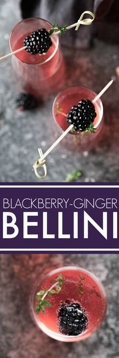This Blackberry Ginger Bellini is a festive sparkling cocktail that's perfect for brunch or festive holiday parties. #bellini #brunchcocktail #festivecocktail #sparklingcocktail #cocktail #blackberrybellini #blackberrycocktail via @platingspairing