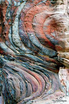 The sandstone of Petra, Jordan