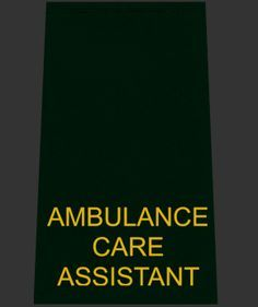 Bottle Epaulette with Yellow 'AMBULANCE CARE ASSISTANT'