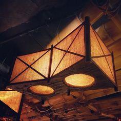 Double Trapezoid Tiki Lamp at False Idol, San Diego - Modern Car Part Furniture, Room Furniture Design, Modern Furniture, Hawaiian Homes, Hawaiian Luau, Tiki Art, Tiki Tiki, Tiki Lounge, Outdoor Lounge