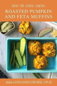 These Roasted Pumpkin and Feta Muffins are full of goodness. Fantastic for school lunches and snacks. #kidfood #schoollunch #schoollunchidea #pumpkinmuffins #savourymuffins #lunchbox via @goodielunchbox