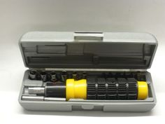 Ratchet Screwdriver Yellow Black 14 Pieces with Case