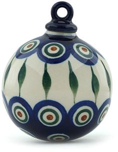 Polmedia Polish Pottery 4inch Stoneware Ornament Christmas Ball H8913A Hand Painted from Ceramika Artystyczna in Boleslawiec Poland Shape S513A184 Pattern P2910A54 * Find similar products by clicking the VISIT button