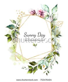 Card Watercolor Invitation Design With Leaves Wild Flowers Background Botanic Elements For