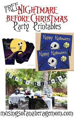 Free Nightmare before Christmas party printables including invitations, decorations, cupcake toppers, water bottle labels and more!