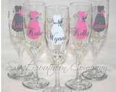 11 Personalized Bride and Bridesmaid Champagne Flutes with Name