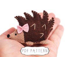 DIY Hedgehog Pattern, Digital Felt Hedgehog Pattern, Hedgehog Plush, Make Your Own Hedgehog - pinned by pin4etsy.com
