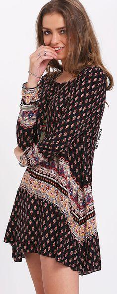 Black Long Sleeve Print Dress