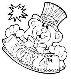 Bear Mascot For Independence Day Coloring Page - Download & Print Online Coloring Pages for Free | Color Nimbus