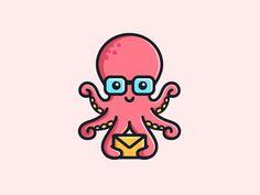 Octopus - Opt 1 designed by Alfrey Davilla Octopus Illustration, Outline Illustration, Simple Illustration, Octopus Design, Octopus Art, Cartoon Logo, Cute Cartoon, Logo Design Inspiration, Icon Design