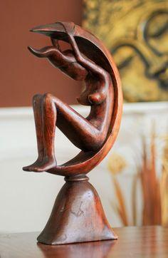 Fairtrade Dark Wooden Statue - Goddess - 30 Cm | Fair Trade Gift Store | Siiren
