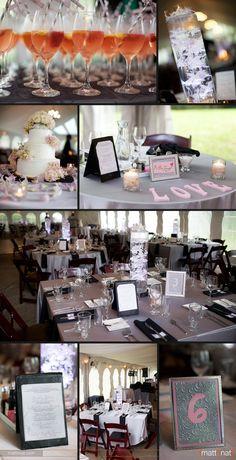 Pink & grey wedding reception details