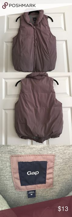 GAP puffer vest with jersey lining. Size Medium GAP Puffer Vest!! This is SO cute and perfect for the fall and winter months! Size Medium. Taupe color with grey jersey knit lining. Only worn a couple of times. GAP Jackets & Coats Vests