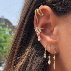 Ear Jewelry, Jewelery, Jewelry Accessories, Silver Jewelry, Cute Earrings, Drop Earrings, Unique Ear Piercings, Accesorios Casual, Cartilage Earrings