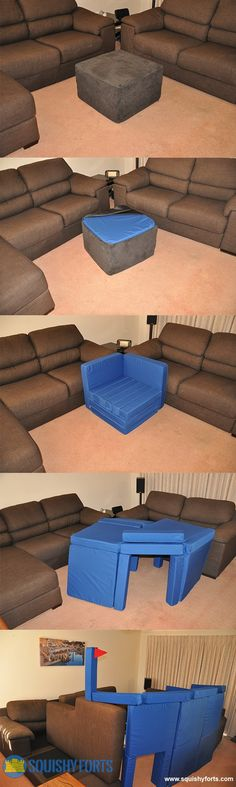 A foot stool that is actually a Pillow Fort Construction kit!