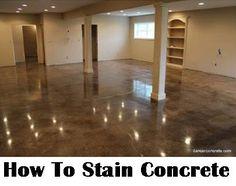 How To Stain Concrete (DIY Home Improvement) - Make your boring concrete floor shine! @diycraftsmom