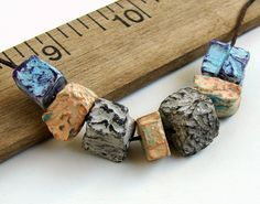 Handmade Polymer Clay Squarish Disc Beads by BeadsByEarthTones