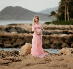 Leilani long lace maternity dress - Miss Madison Couture | Gowns for Bridal and Photography