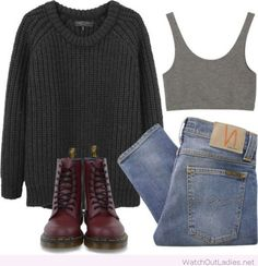 Jeans, sweater and burgundy boots