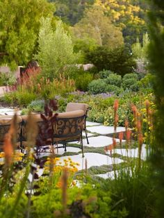 Concrete slabs with greenery in between. Could use low-growing thyme, Corsican mint, etc. (Mediterranean landscape by Jeffrey Gordon Smith Landscape Architecture)