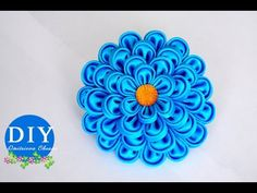 DIY. Kanzashi Flower scrunchy.The Flower from the satin ribbon.The FlowerTutorial - YouTube