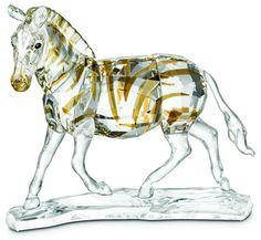 Swarovski Crystal Zebra - Colored Stripes on these Swarovski Zebras.  Swarovski Crystal Figurine.