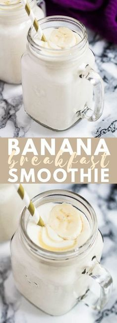 Banana Breakfast Smoothie - Deliciously thick and creamy banana smoothie, that i. - - All and more in Banana Breakfast Smoothie - Deliciously thick and creamy banana smoothie, that i. Healthy Breakfast Smoothies, Healthy Drinks, Healthy Snacks, Diet Breakfast, Nutrition Drinks, Banana Breakfast Recipes, Smoothies For Lunch, Super Healthy Recipes, Healthy Banana Recipes