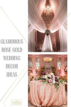 A gorgeous explosion of glitzy and glamorous rose gold! Take a look at the rose gold wedding decor ideas in our gallery below and get inspired!