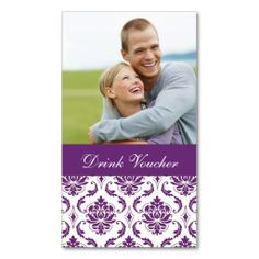 Purple Damask Photo Wedding Drink Voucher Business Cards. This is a fully customizable business card and available on several paper types for your needs. You can upload your own image or use the image as is. Just click this template to get started!