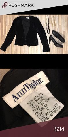 Ann Taylor Vintage blazer size 2 Description: PRELOVED Vintage Ann Taylor Velour Black Velour short blazer size 2. This is a cool piece for the fashionista.  Fabric is in great condition, built in shoulder pads with a black gem that secures for a button on front of blazer. Good condition no signs of damage or wear an tear. ProductDetails:  •No tears •No Stains •No rips •Smoke free home •Pet free home Ann Taylor Jackets & Coats Blazers