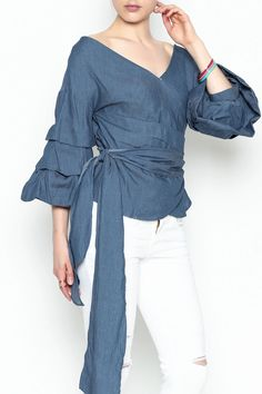Denim Wrap Top by Do-Be. Clothing - Tops - Blouses & Shirts Manhattan, New York City New York City New York City Manhattan, First Day Of Summer, Shirt Blouses, Shirts, Unique Outfits, Flare, Ruffle Blouse, Indian, Stitch