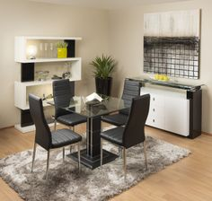 Lambda Square Glass Dining Table with Nero Chairs