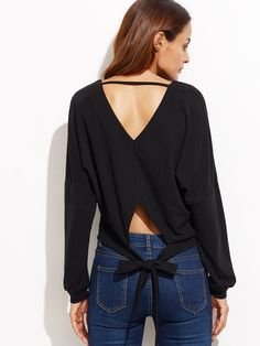 10$  Buy here - http://dinke.justgood.pw/go.php?t=8035 - Black Double V Neck Tie Back Dolman Sleeve Sweatshirt