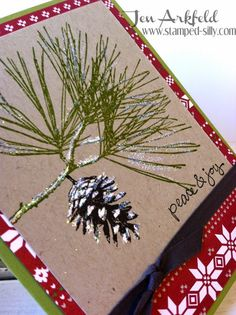 Stamped Silly: Ornamental Pine - Stampin' Up! Use white dimensional embossing powder to look like snow.