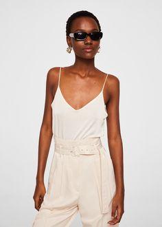 Lepršavi top na bretele - Žene Mango Outlet, Trends, Manga, Rompers, Suits, Fabric, Model, Dresses, Tejidos