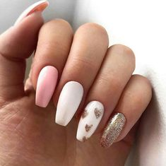 12 Super Cute DIY Nail Designs - valentines-day-diy-manicure-ideas-golden-heart-tips-min - Valentine's Day Nail Designs, Simple Nail Designs, Acrylic Nail Designs, Unicorn Nails Designs, Cute Acrylic Nails, Cute Nails, Pretty Nails, Glitter Nails, Valentine Nail Art