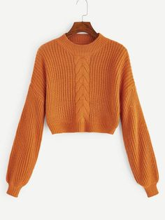 To find out about the Mock-neck Mixed Knit Crop Jumper at SHEIN, part of our latest Sweaters ready to shop online today! Jumper, Sweater And Shorts, Sweater Outfits, Cropped Sweater, Cute Outfits, Look Fashion, Fashion News, Fashion Outfits, Pull Court