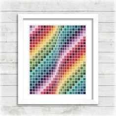 Counted Cross Stitch Rainbow Swirl Pattern by EmblemsDesign Cross Stitch Art, Cross Stitch Samplers, Modern Cross Stitch, Counted Cross Stitch Patterns, Cross Stitching, Rainbow Quilt, Rainbow Swirl, Diy Embroidery, Cross Stitch Embroidery