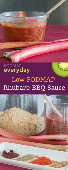Thislow FODMAP Rhubarb BBQ Sauce is quick to make and takes advantage of ready-made BBQ sauce like the one from FODY. This recipe begins with cooking fresh rhubarb with all kinds of BBQ friendly spices and flavors like cumin, chipotle chile, smoked paprika and molasses in addition toFODY BBQ Sauce.#lowfodmap #fodmapeveryday #ibs #ibsdiet #glutenfree #vegetarian #rhubarb #dairyfree #easyrecipe #quickrecipe Rhubarb Bbq Sauce, Make Bbq Sauce, Ibs Fodmap, Chipotle Chile, Dairy Free Diet, Gluten Free Desserts, Gluten Free Recipes, Vegan Recipes, Fodmap Recipes